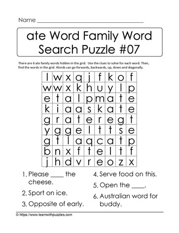 ate Word Family Activity