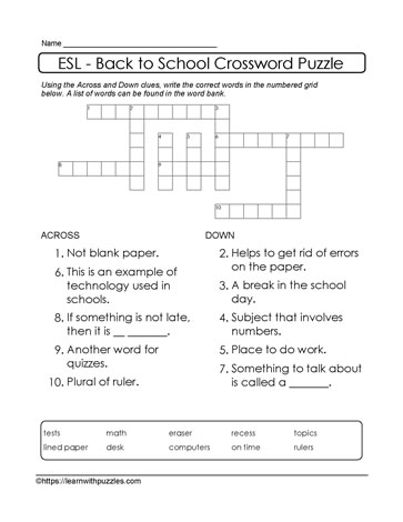 Bank of 10 Words Crossword Puzzle