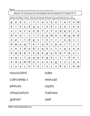 Cooperative Word Search Puzzle