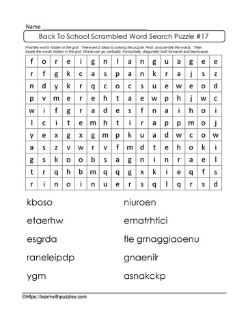 Interactive Word Search Puzzle