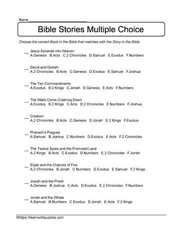 Bible Stories Multiple Choice