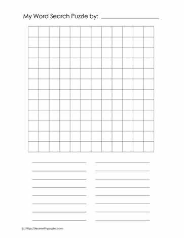 12 x 12 Blank Word Search