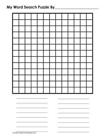 13 x 13 Blank Word Search