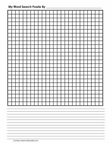 25 x 25 Blank Word Search Grid
