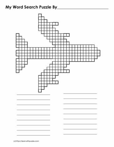 Airplane Blank Word Search Grid
