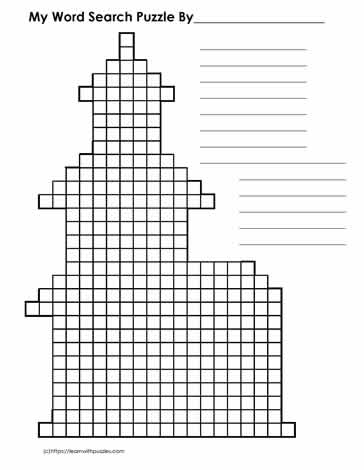 Church Shaped WordsearchBlank-Grid