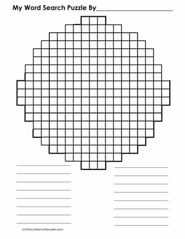 Blank Circle-shaped Wordsearch Grid