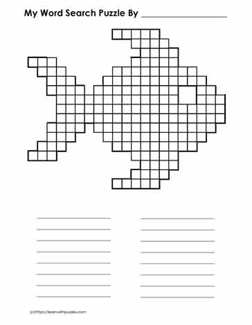 Blank Fish Shaped Word Search Sheet