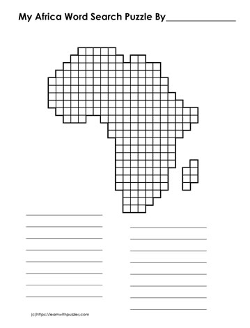 Africa Blank Word Search