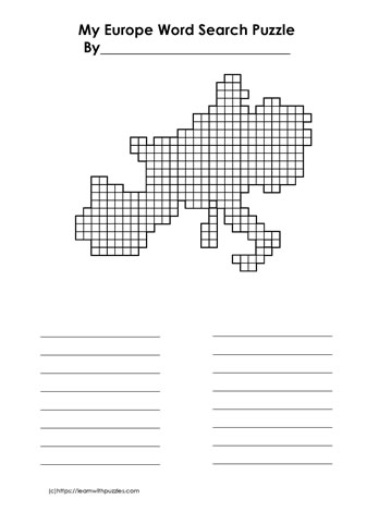 Europe Blank Word Search Grid