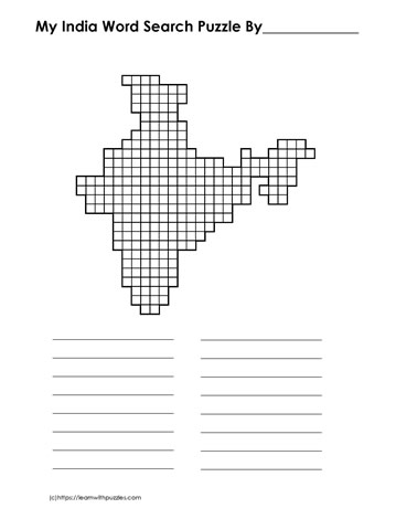 India Blank Word Search
