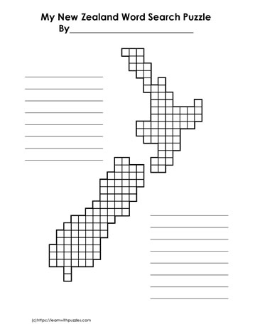 New Zealand Blank Word Search Grid