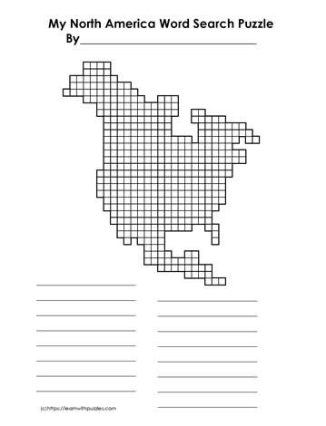 Word Search Grid North America