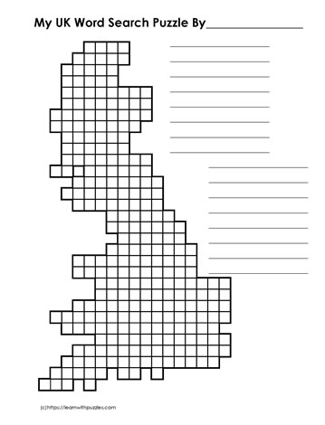 UK Shaped Blank Word Search Grid
