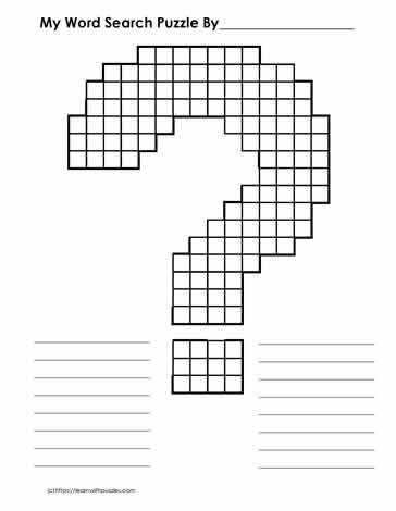 Blank Word Search Grid - Question Mark