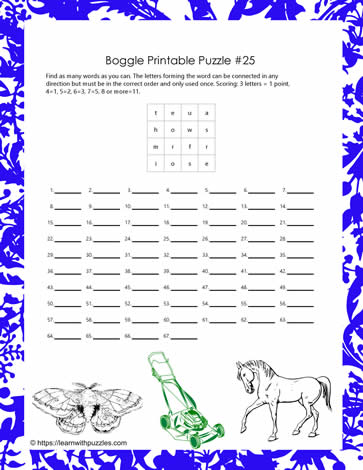 Printable Boggle Game
