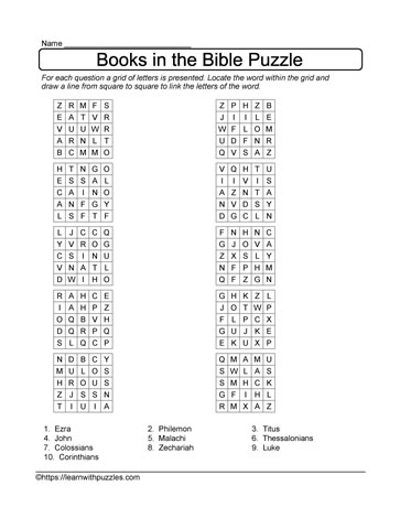 Grid Puzzle Books in the Bible