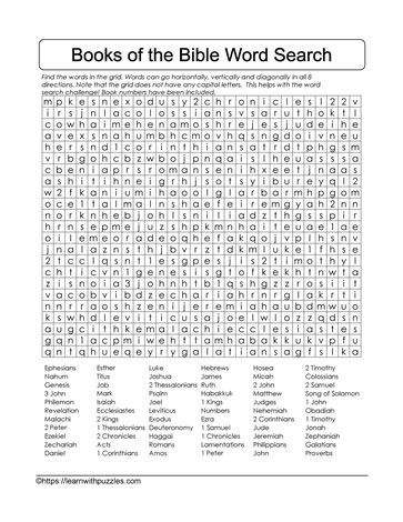 Hard Bible Books Wordsearch