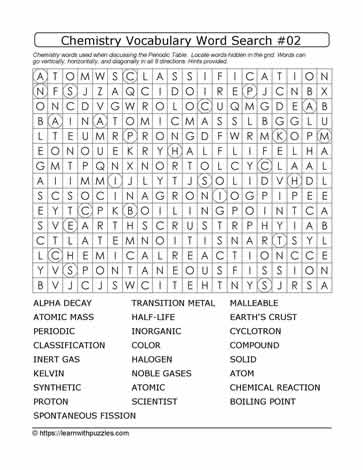Chemistry Vocab Word Search #02