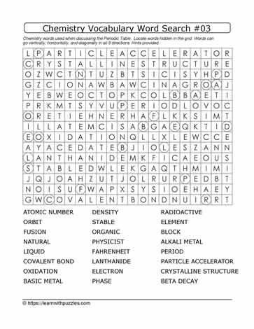 Chemistry Vocab Word Search #03