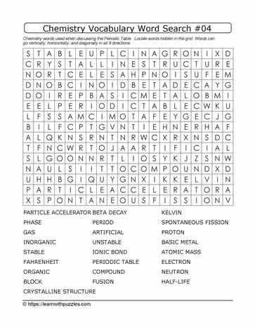 Chemistry Vocab Word Search #04