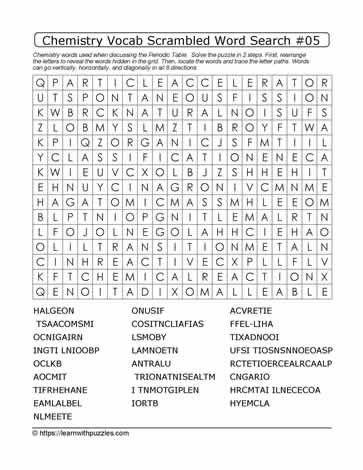 Chemistry Vocab Scrambled Word Search #05