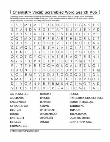 Chemistry Vocab Scrambled Word Search #06
