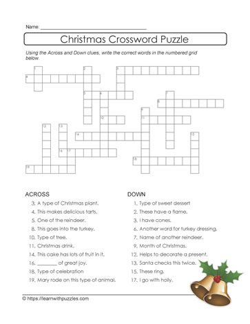 Crossword Puzzle for Xmas