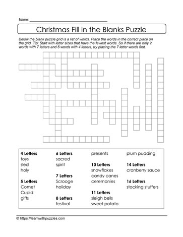 Fill in Blanks Christmas Puzzle