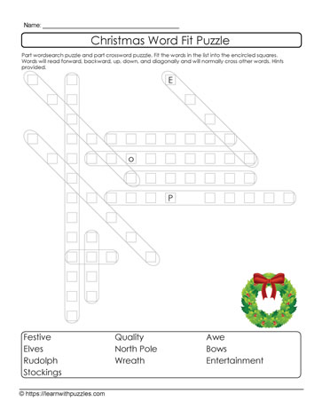 Word Fit Xmas Puzzle