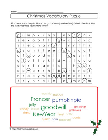 Printable Xmas Word Find