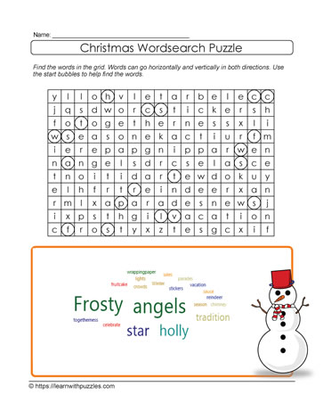 Xmas Wordsearch Printable