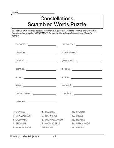 Scrambled Words Puzzle