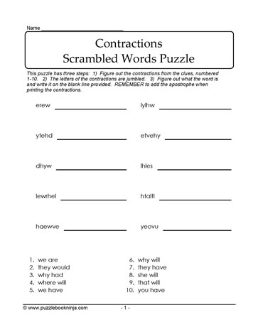 Jumbled Contractions Puzzle