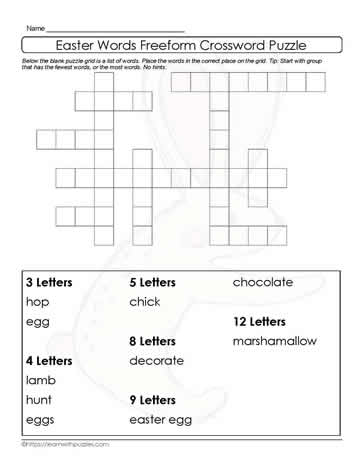 Crossword Like Easter Freeform