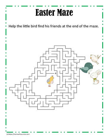 Chick Shaped Easter Maze