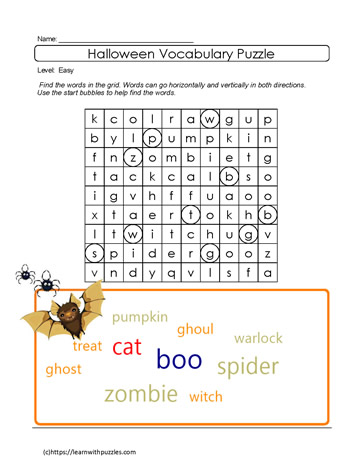 Printable Wordsearch Halloween