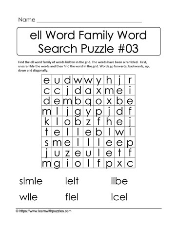 ell Word Family Activity