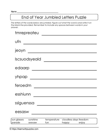 School Year End Jumbled Letters