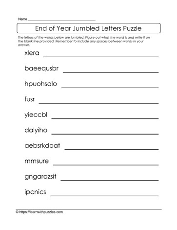 Jumbled Letters for End of Year Puzzle
