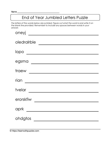 Jumbled Letters Puzzle-End of Year