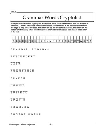 Grammar Words Cryptolist