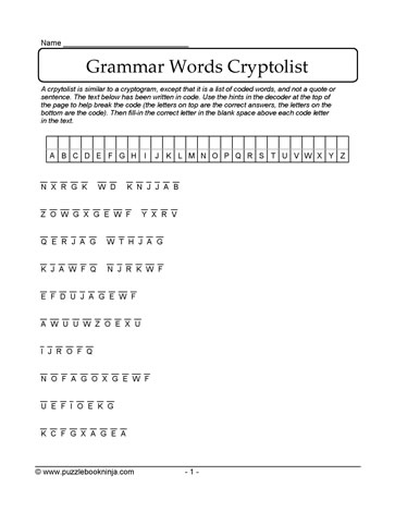 Solve the Grammar Cryptolist