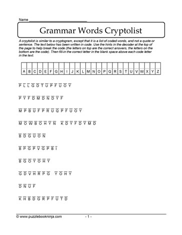Grammar Vocabulary Cryptolist