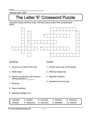 Crossword Puzzle for ELLs