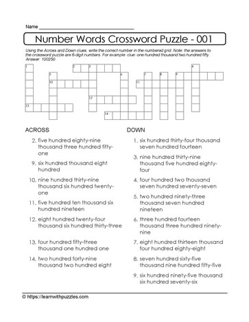 Number Crossword Puzzle - 001