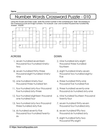 Crossword Puzzle Using Numbers