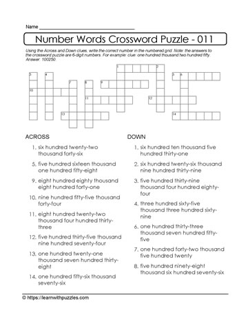 Crossword Puzzle Using 6-Digits