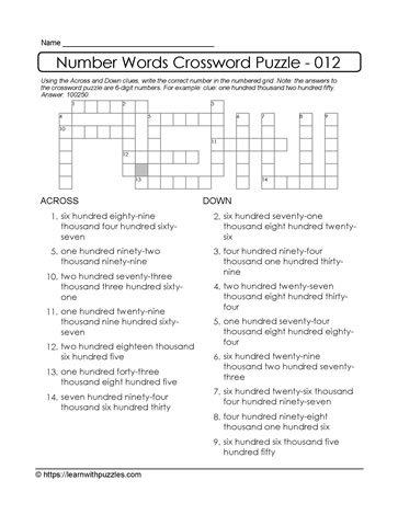 Crossword Puzzle - 6-Digits