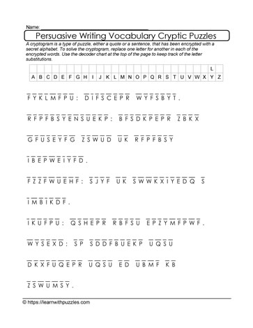 Persuasive Writing Cryptogram